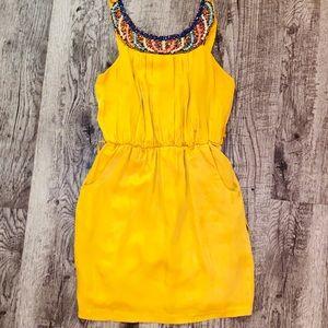 Beaded Mini Dress in Gold/Mustard